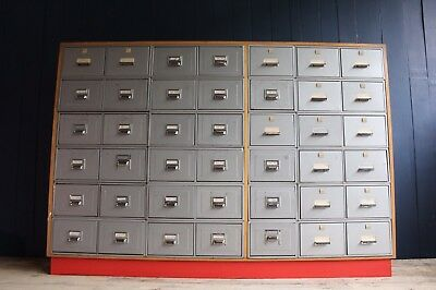 Large Bank Of Metal Industrial Filing Cabinet Drawers Retro *DELIVERY AVAILABLE*