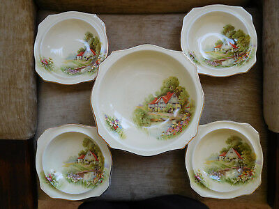 "Royal Winton Grimwades ""Red Roof "" Server Set Made In England 1940s"