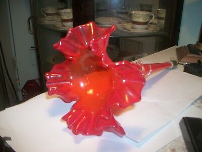 ANTIQUE GLASS EPERGNE 40cm long,,, rRED with APPLIED FILAGREE