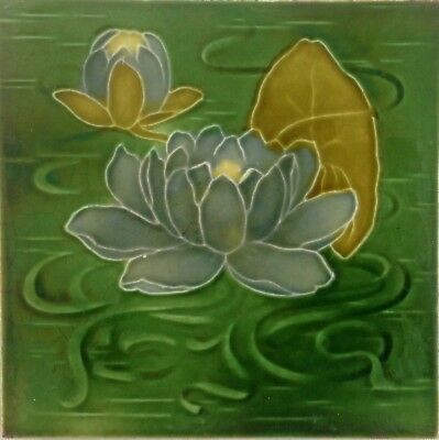 Antique Majolica Tube Lined Water Lily Tile (no. 1)