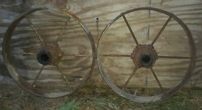 1 matching Set -Antique Steel 6 spoke  Wagon Wheels, Hit & Miss Engine cart! 17""