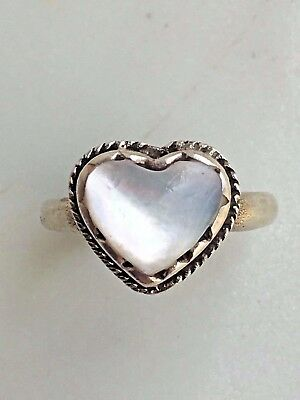 Sterling Silver MOP Heart Ring