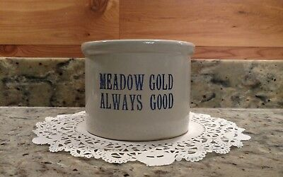 Vintage Meadow Gold Stoneware Butter Crock