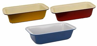 Coloured Rectangular Seamless Oven Non Stick Loaf Cake Tins Yellow Blue Red
