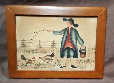 Vintage Jean Henry Theorem Folk Art Painting Wood Frame~Primitive Country ~RARE