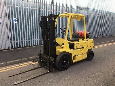 Hyster 2.5 Gas Fork Lift Truck , Triple Free Lift Nice Old Truck Side Shift.