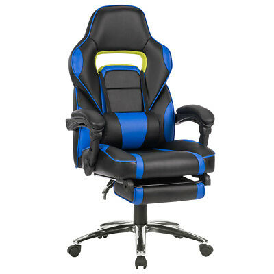 Blue Executive Office Racing Gaming Chair High-Back Leather Reclining Chair Seat