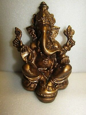 LORD GANESHA GANESH MAHARAAJ HINDU GOD ANTIQUE  STATUE BRONZE FINISH 16cm