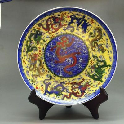 Chinese Ceramics Colorful Handmade Peacock Figure Painting Plate