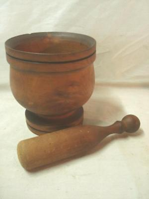 Nicely Turned Antique Wooden Mortar & Pestle. Apothecary, Pharmacy,Drug Store.NR