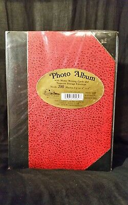 "Pioneer RED BLACK  Pocket Bound Photo Album, Holds 200 4x6"" FREE SHIPPING"