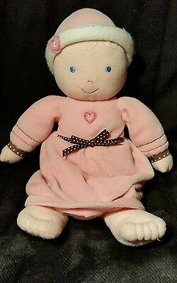 CARTERS  plush PINK BABY DOLL  with RATTLE    BUNTING GOWN with  HEARTS FLOWERS