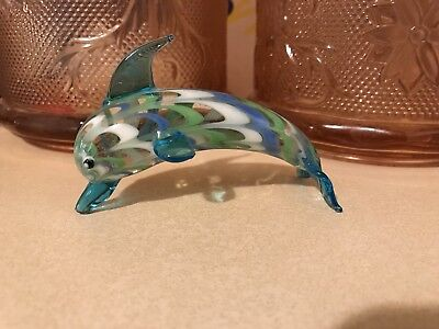 Fitz & Floyd Crystal Glass Figurine with Sticker Dolphin