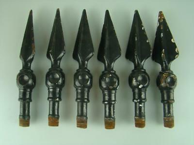 6 Antique Cast Wrought Iron Fence Spikes Finials