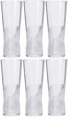 Set of 6 Tall Slim Beer Glasses High Ball Tumblers With Textured Bottom