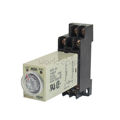 H3Y-2 DC 12V 5A 8 Pins DPDT 0-30 Minutes Timer Time Relay Delay with Base