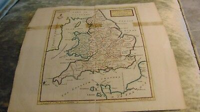 Coloured Map England And Wales With The Islands Of Garnsey, Jersey