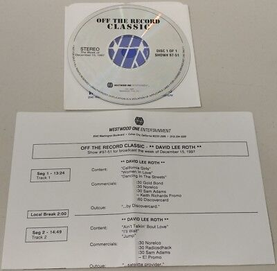 "David Lee Roth  -""Off The Record Classic ""-1 CD-PROMO Radio Show-12-15-97- W.Cue"