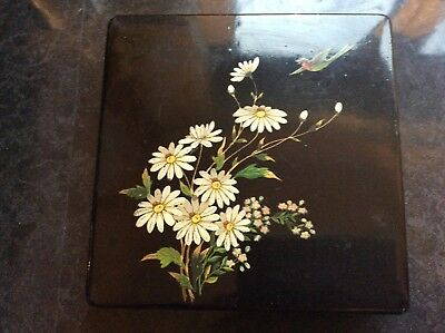 Vintage Chinese/Japanese Hand Painted Black Lacquered Fan Box Circa 1900
