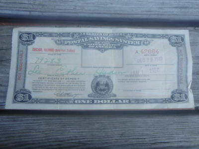VTG Postal Savings System Series Of 1939 $1 Certificate of Deposit