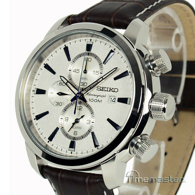 New SEIKO CHRONOGRAPH LEATHER STRAP SILVER FACE SNAF51P1