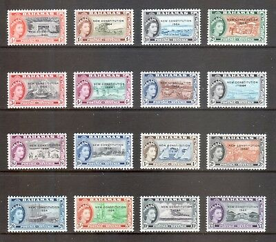BAHAMAS 1964 QEII New Constitution Definitive Set of 16 SG228-43 MNH CV £32