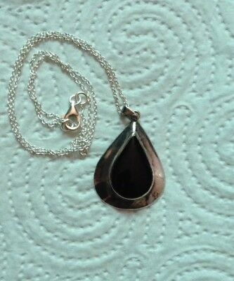 Vintage .925 Sterling Silver Onyx Necklace