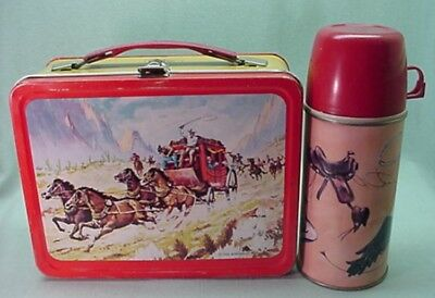 Vintage 1963 Western metal lunch box and tall thermos
