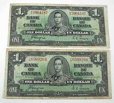 Lot of 2 1937 Bank of Canada 1 Dollar Note - Coyne/Towers - B/N & T/N