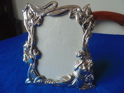 Beautiful Art Nouveau Silvered Photo Frame With Reclining Female Form