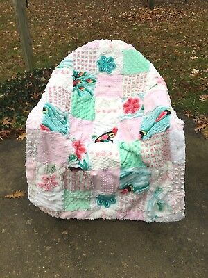 What a Cutie!  SCQ Handmade Chenille Baby Quilt with Flowers and Textures Galore