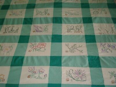 Hand stitched vintage quilt top, 48 blocks, flowers, states of U.S., embroidered