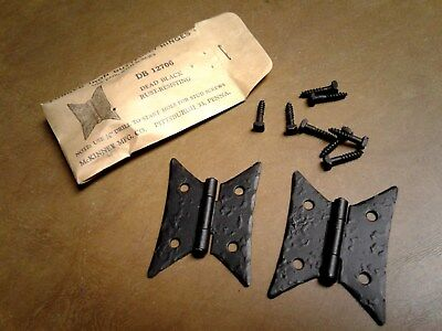 NOS Pair Cabinet Door Butterfly Hinges Forged Iron Black McKINNEY 12706 DB