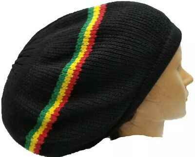 006f634d2 BLACK RASTA HAT Jamaica Marley Reggae Rastafari Dreadlocks Tam Roots Cotton