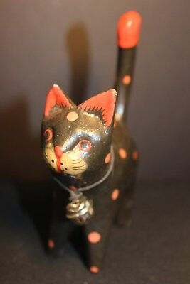 Vintage - Wood - Polka Dot Cat Figurine - Black Cat with Red Dots