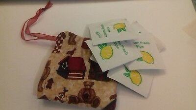 Lemon Hand Wipes in a Handmade Pouch!