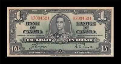 1937 BANK OF CANADA KGVI $1 **Coyne & Towers** (( UNC ))