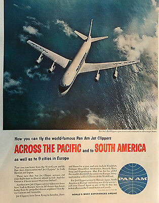 Vintage ad for Pan Am` Pan Am's Jet Clippers Photo Airplane Ocean(102616)