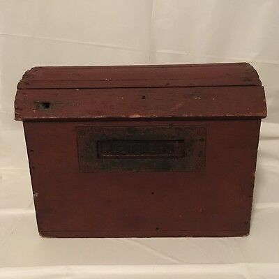 Very Rare Wooden Domed Primitive Antique Colonial Red Mailbox. Rare Piece.