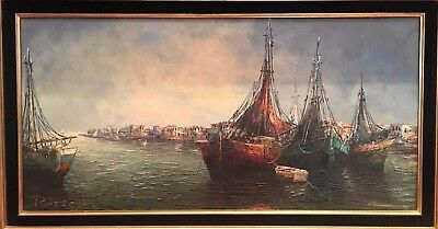 OIL PAINTING LARGE VENETIAN EARLY / MID 20th CENTURY FRENCH SCHOOL GOLD FRAME