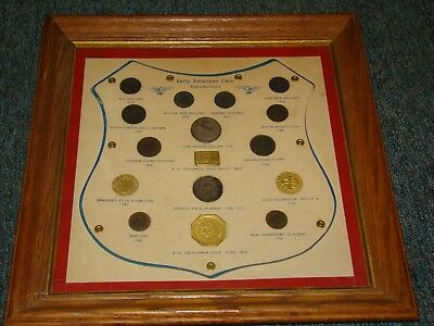 Early American Coins In Frame Actual Coins Must Circa 1950's