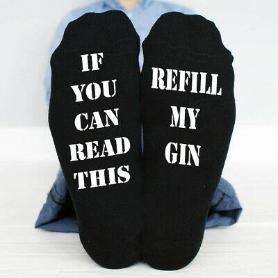 If You Can Read This Refill My Gin Funny Socks Great Gift Present Idea