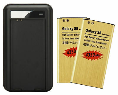2 X 4350mAh High Capacity Gold Batteries + Charger for Samsung Galaxy S5 i9600