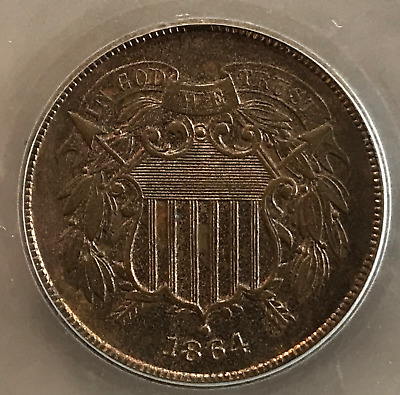 1864 2c Two Cent Large Motto MS Red/Brown Cilvil War Date