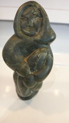 Arctic Woman Carrying Large Fish  Vintage (1973)  Inuit Art  Carving