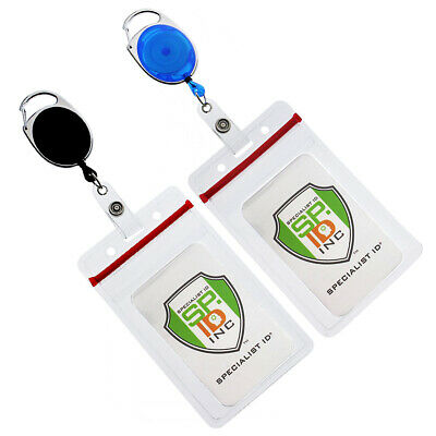 2 Pack - Retractable Carabiner Reels with Clear Vertical ID Name Badge Holder