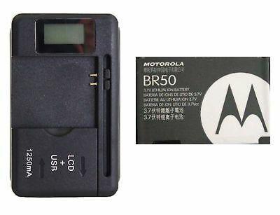 New Battery BR50 + Universal LED Charger for Motorola RAZR V3 V3c V3i V3m V3r