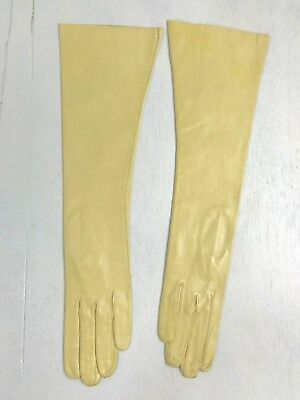 BC- Vintage butter yellow nappa lambskin soft leather elbow length gloves-sz 6.5