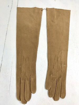 "BI-Vintage NWOT camel suede leather Kislave France g;pves-16"" elbow lenght-s 6.5"