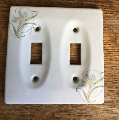 Ceramic Double Switch Plate  Cover  White with Lily flowers